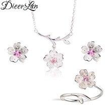 Ensemble de bijoux de mariée en argent Sterling 2019, cristal rose, fleurs de cerisier, colliers, boucles d'oreilles, bagues pour femmes, 925