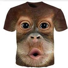 T Shirt Men Women 3D Animal Print Tshirt Funny Monkey T-Shirt Cat Tee Shirts Summer Streetwear Harajuku Short Sleeve Couple Tops monkey print tee