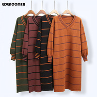 Plus Size Women Stripe Knitting Sweater 2017 Autumn And Winter New Cotton Korean Large Size Long