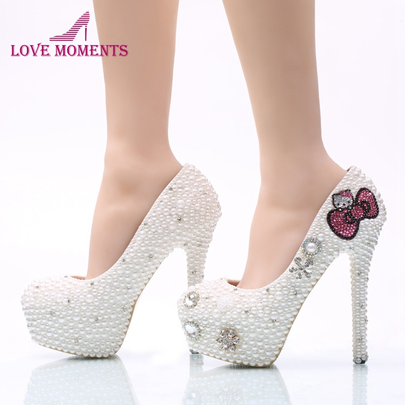 White Pearl Wedding Shoes with Handmade Pink Hello Kitty Rhinestone Wedding  Shoes Bridal Pumps 5cm 8cm and 11cm Heel Woman Shoes ac027e6b0b32