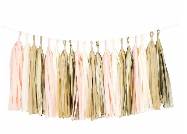 Blush,Champagne, Neutral and Gold Tassel Garland and Paper Straws Party Kit - Baby Shower Decorations,Blush Wedding Decor 2101