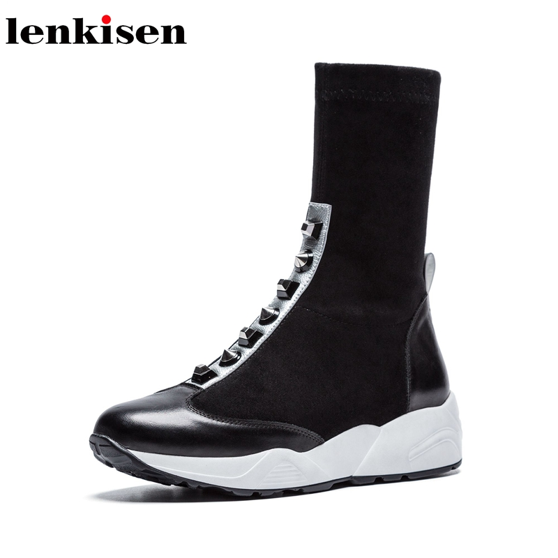 Lenkisen handmade mixed colors cow leather flock zipper round toe thick med bottom rivets decoration women thigh high boots L06Lenkisen handmade mixed colors cow leather flock zipper round toe thick med bottom rivets decoration women thigh high boots L06
