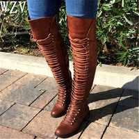 Bottines hautes genoux femme 2018 bottes d'équitation croisées femmes chaussures femme ete zip rivets filles sapato feminino C332