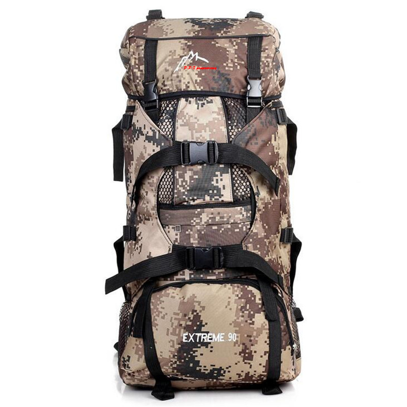 2017 New 90L High Capacity Outdoor Camping Backpack Men s Camouflage Hiking Backpack Waterproof Sport Tactical
