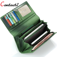 CONTACT S Genuine Leather Wallet Women Bag Female Purse Lady Famous Brand Card Holder Weaving Long