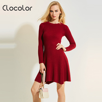 Clocolor Women Sweater Dress Round Neck Long Sleeve A Line Plain Solid Pullover Knitted 2017 New