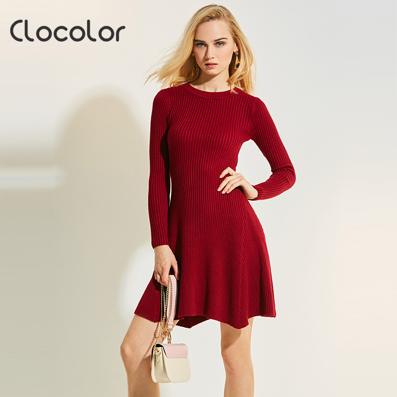 Clocolor Women Knitted Dress Round Neck Long Sleeve A Line Plain Solid Pullover Knitted 2017 New