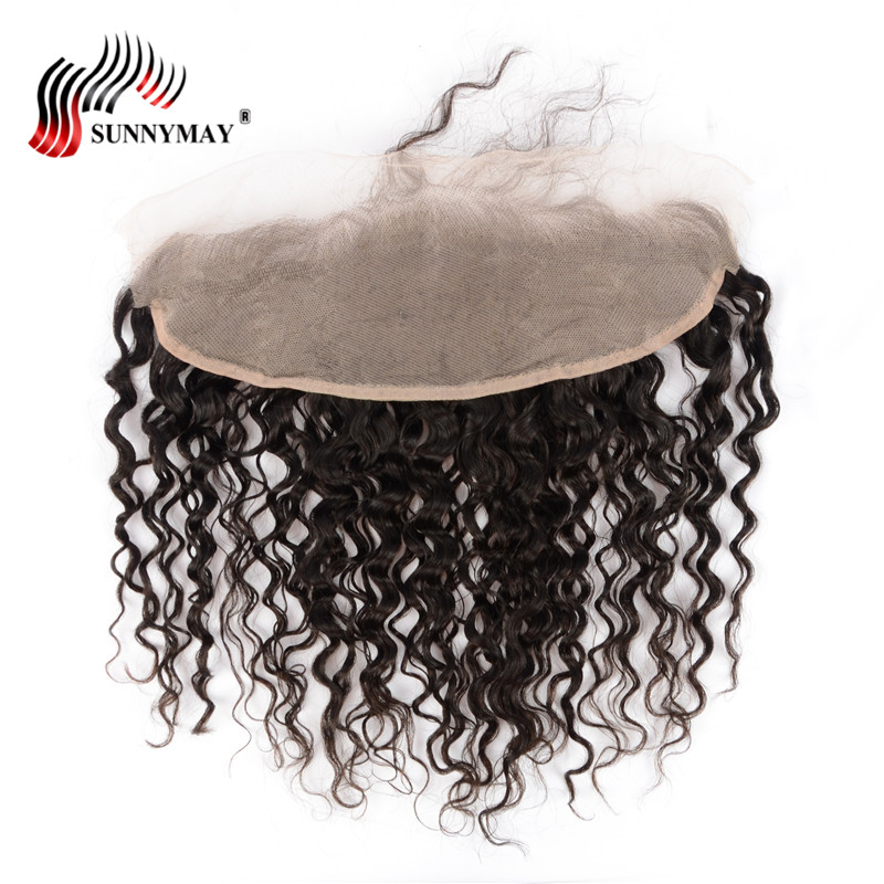 Sunnymay Malaysian Loose Curly Lace Frontal 13*4 Ear To Ear Human Hair Lace Closure With Baby Hair Free Part