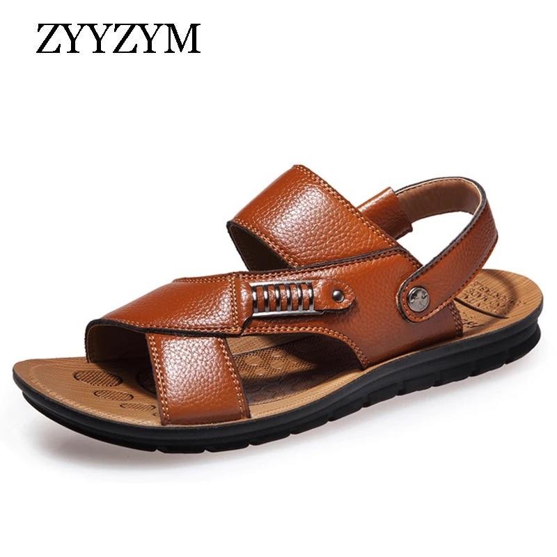 ZYYZYM Men Sandals 2019 Summer Hot Sale Leather Fashion Classics Slipper Sandals Man Non-slip Men Beach Shoes Plus Size 38-48