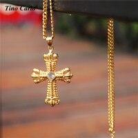 New Hip Hop Iced Out Bling Gold Jesus Crown Cross Crucifix Men Pendant 70cm Cuban Curb