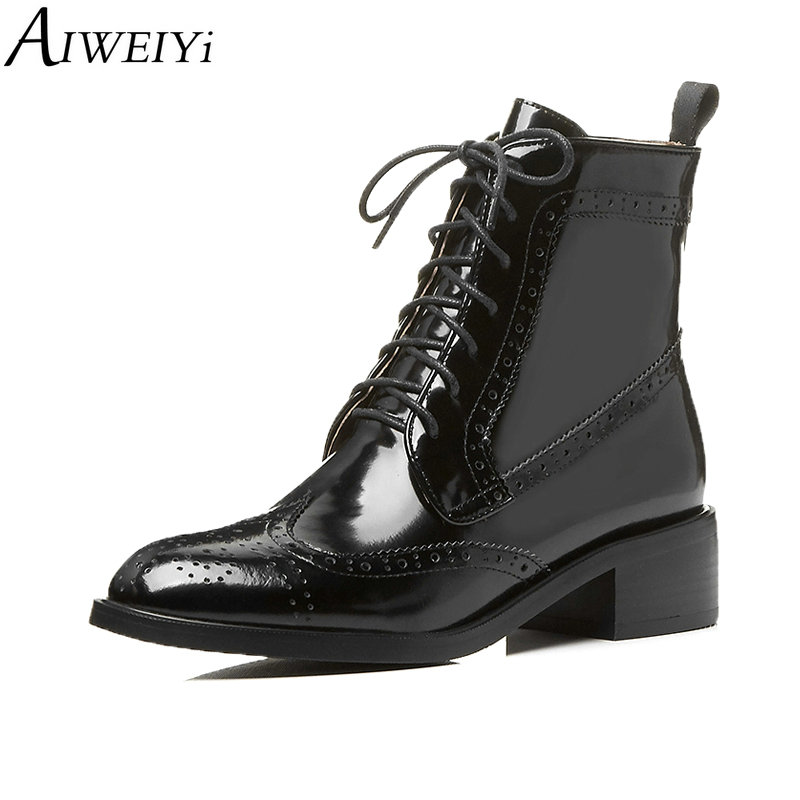 AIWEIYi Womens Boots Ankle Boots Genuine Leather Winter Boot Sankle Boots For Women Square Low Heel Lace Up Black Ladies ShoesAIWEIYi Womens Boots Ankle Boots Genuine Leather Winter Boot Sankle Boots For Women Square Low Heel Lace Up Black Ladies Shoes