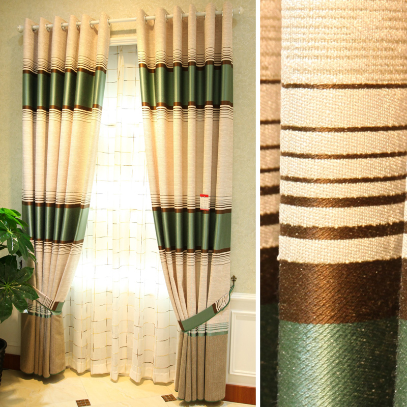 Sheer Curtains Free Shipping The High End Modern And Elegant Past Green Yellow Purple Stripe Cotton Linen Composite Curtain