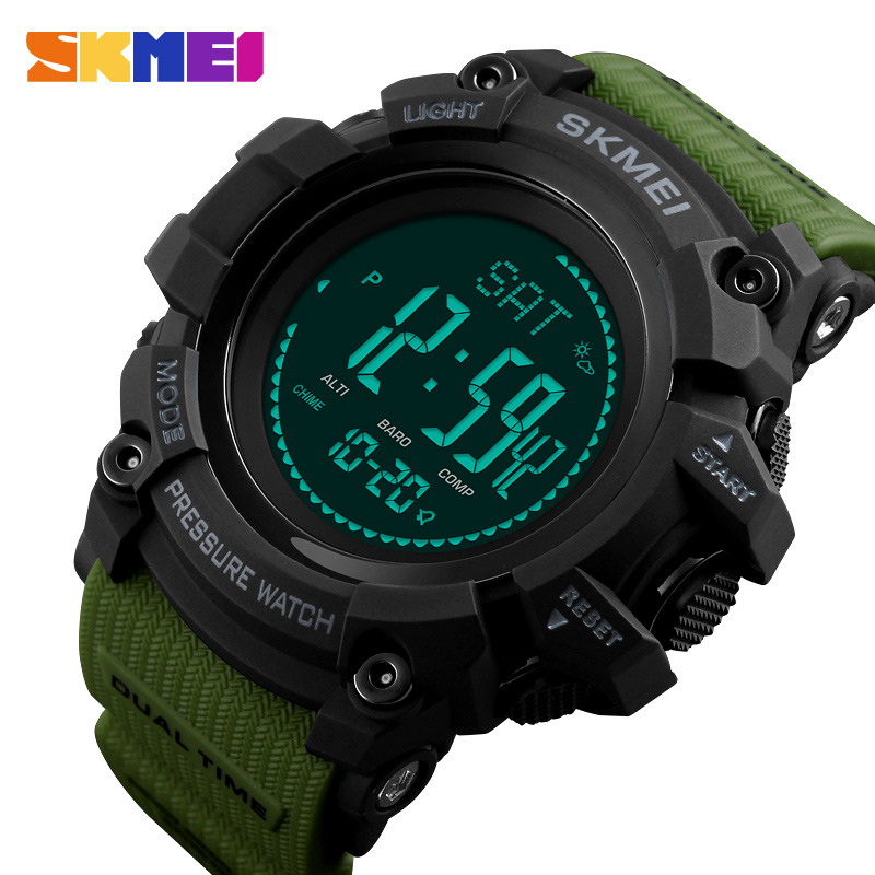 SKMEI Brand Mens Digital Watch Hours Pedometer Calories Men Watch Altimeter Barometer Compass Thermometer Weather Sports Watches skmei men watch sport altimeter pressure thermomet weather pedometer calories compass multifunction led digit wrist watches men