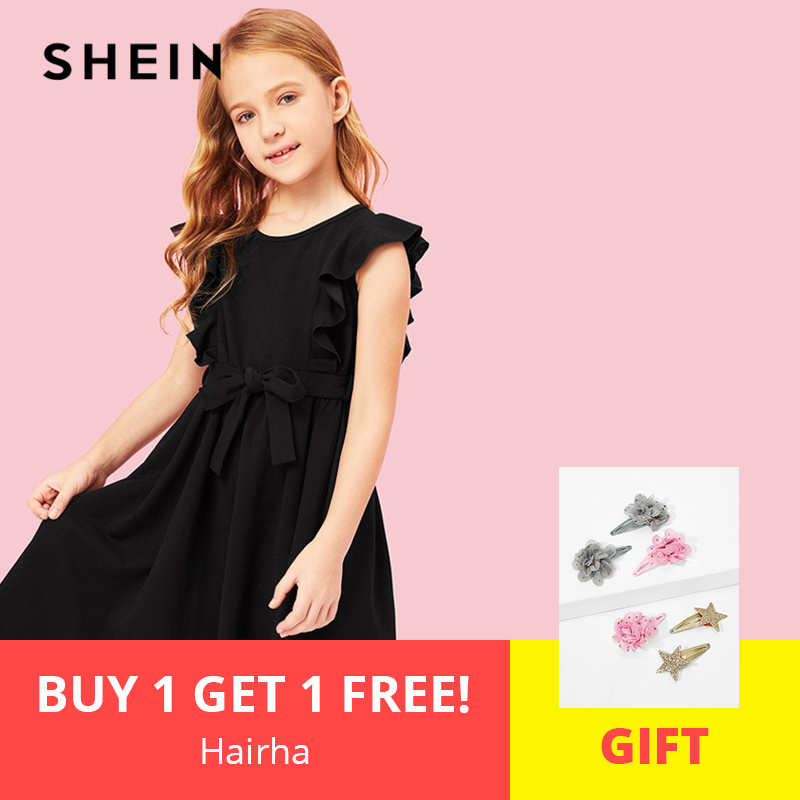 SHEIN Kiddie Black Ruffle Belted Armhole A Line Party Girls Summer Dress 2019 Sleeveless Casual Kids Dresses For Girls Clothes girls tie neck polka dot dress