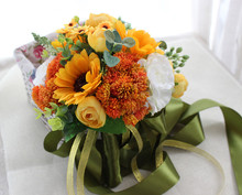 Yellow sunflowers White Rose Buquet de noiva Bouquets For Brides Brooch Wedding Outside Artificial flowers