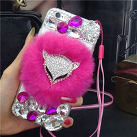 XINGDUO Fox head Bling Fox Rabbit Plush Fur Back Cover Case For iphone7 7Plus 5 5S SE 6 6S 6P for samsung galaxy S7 S7Edge s5 s4