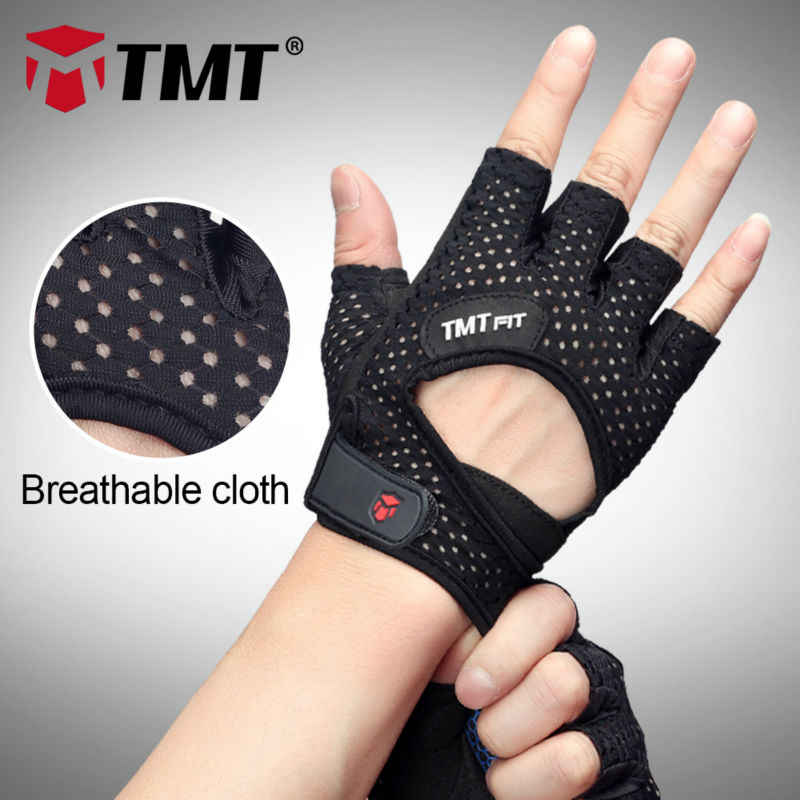 TMT Mesh Breathable Anti-slip Silikonbelegg Sports Gym Training Barbell Dumbbell Vektløfting Gym Hansker Fitness Hansker