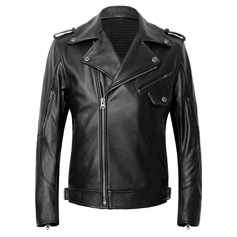 Jacket Biker-Coat Motorcycle Thick Cowhide Genuine American Black Spring Slim Plus-Size
