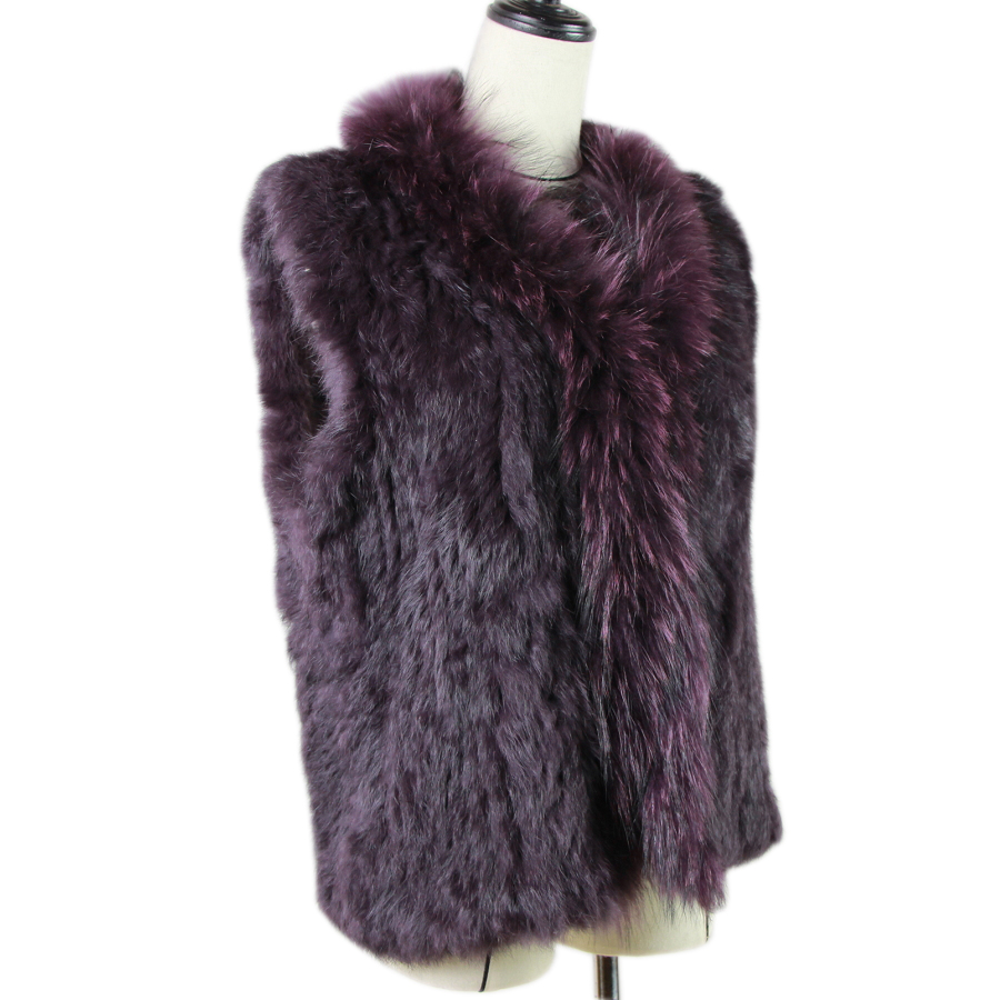 2019 New Women Genuine Natural Real Rabbit Fur Knitted Vests /Waistcoat/ Gilet /coats With  Raccoon Fur Collar Vest 20 Colors