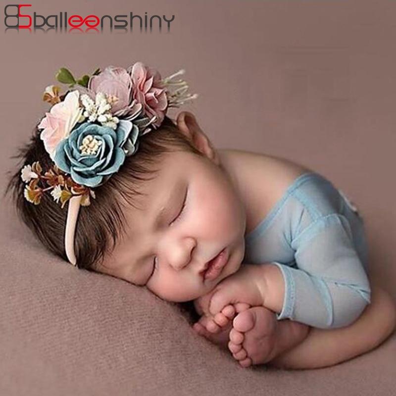 BalleenShiny 3PCS Baby Girls Artificial Flower Headband Elastic Nylon Ribbon Newborn Hairband Birthday Party Gift Headwear Set artificial flower with 3pcs flower