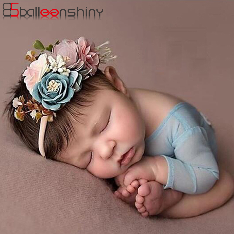 BalleenShiny 3PCS Baby Girls Artificial Flower Headband Elastic Nylon Ribbon Newborn Hairband Birthday Party Gift   Headwear   Set