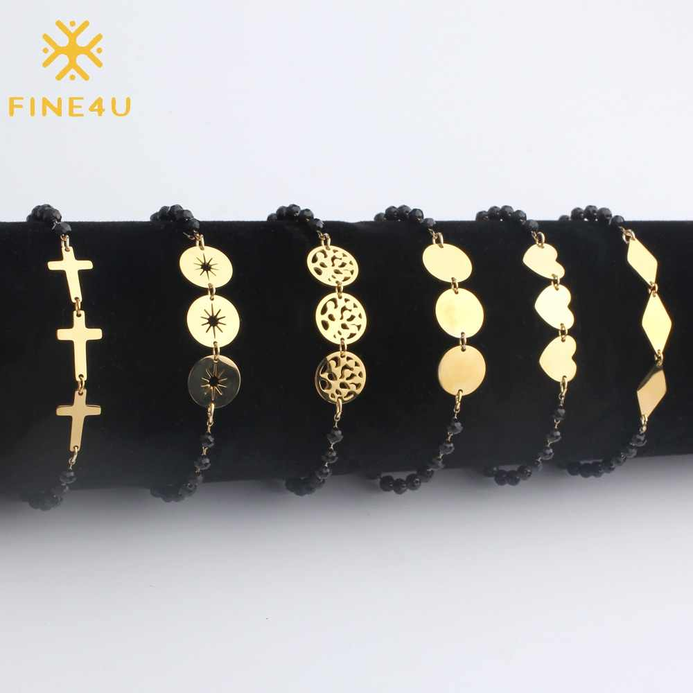 FINE4U B122 Stainless Steel Coin Cross Heart Charm Bracelets Adjustable Black Beads Bracelets 2019 Rosary Bracelets