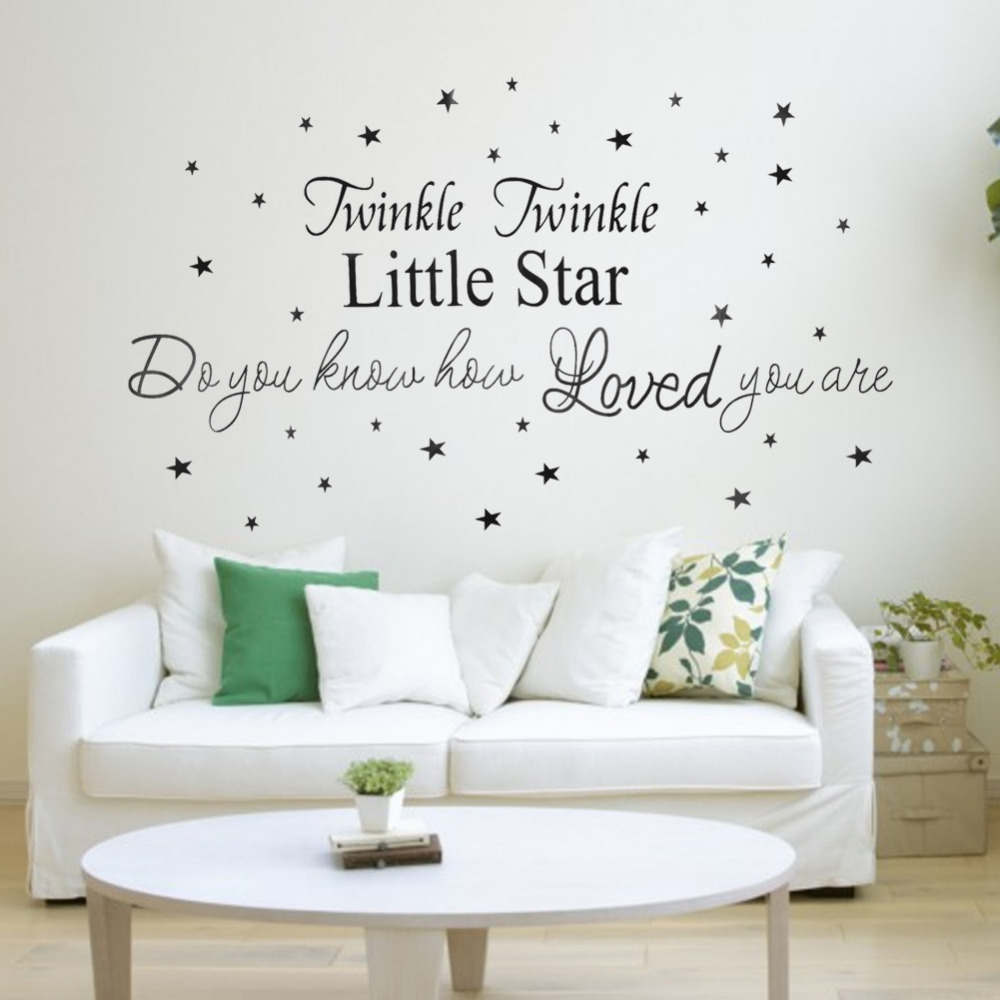 2017 twinkle twinkle little star letter pattern wall stickers for 2017 twinkle twinkle little star letter pattern wall stickers for kids rooms decoration home decor pvc removable wall art decals in wall stickers from home amipublicfo Image collections