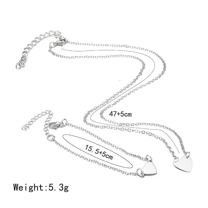 X179 Trendy Simple Dubai Jewelry Sets For Women Heart Shaped Gold/Silver Color Chain Necklace&Bracelet 2pcs Jewelry Set Female