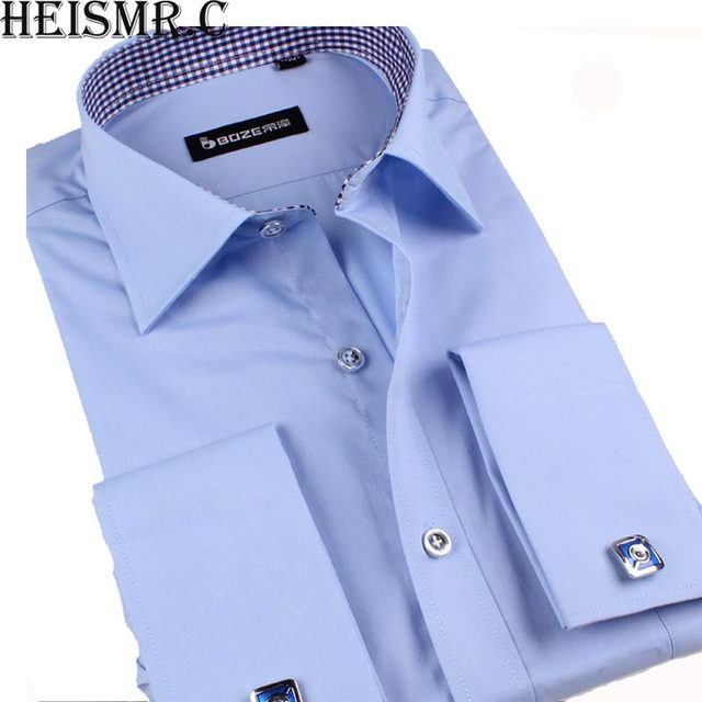e75a89ef1409 C New Men'S Business Suits French Cuff Dress Shirts Solid Colored Men'S  Brand Smart Casual Shirt Long Sleeve Men'S Shirts