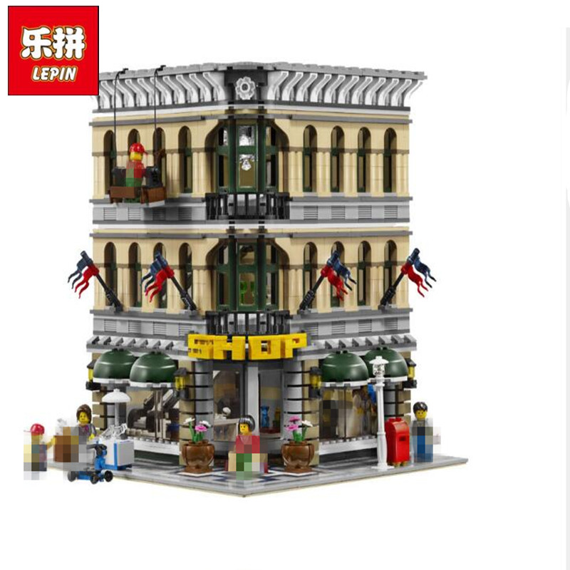 City Creator Grand Emporium Model Action Figure Street 2017 New LEPIN 15005 Building Blocks Bricks Toys Gift Compatible 10211 lepin 22001 pirate ship imperial warships model building block briks toys gift 1717pcs compatible legoed 10210