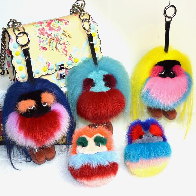 Fluffy Genuine Real Fur Pom Pom Keychain Monster Fur Keyring Key Chain Women Bag Charm Bag Accessories цены онлайн