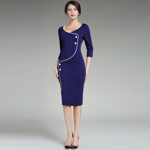 Online Shop Formal Pencil Dresses For Work Wrap Dress Business