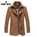 TANGNEST Fashion New Thick Warm Men Coat 2017 Casual Solid Long Turn-down Collar Men Jacket Popular Coat For Male MWN170