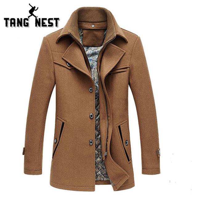 Tangnest moda nueva gruesa ropa de abrigo abrigo de 2017 larga sólida ocasional da vuelta-abajo hombres chaqueta de abrigo populares para masculino mwn170