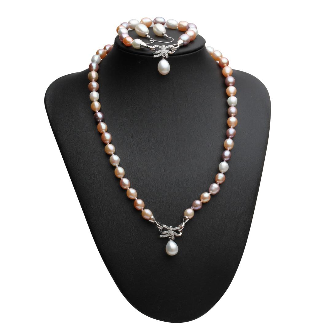Beau vrai collier naturel et boucles d'oreilles ensembles femmes bracelet, coloré 925 argent bijoux de mariée ensembles perle anniversaire - 4