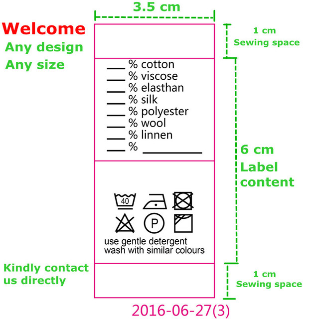 Custom wash instructions soft satin ribbon washing labels