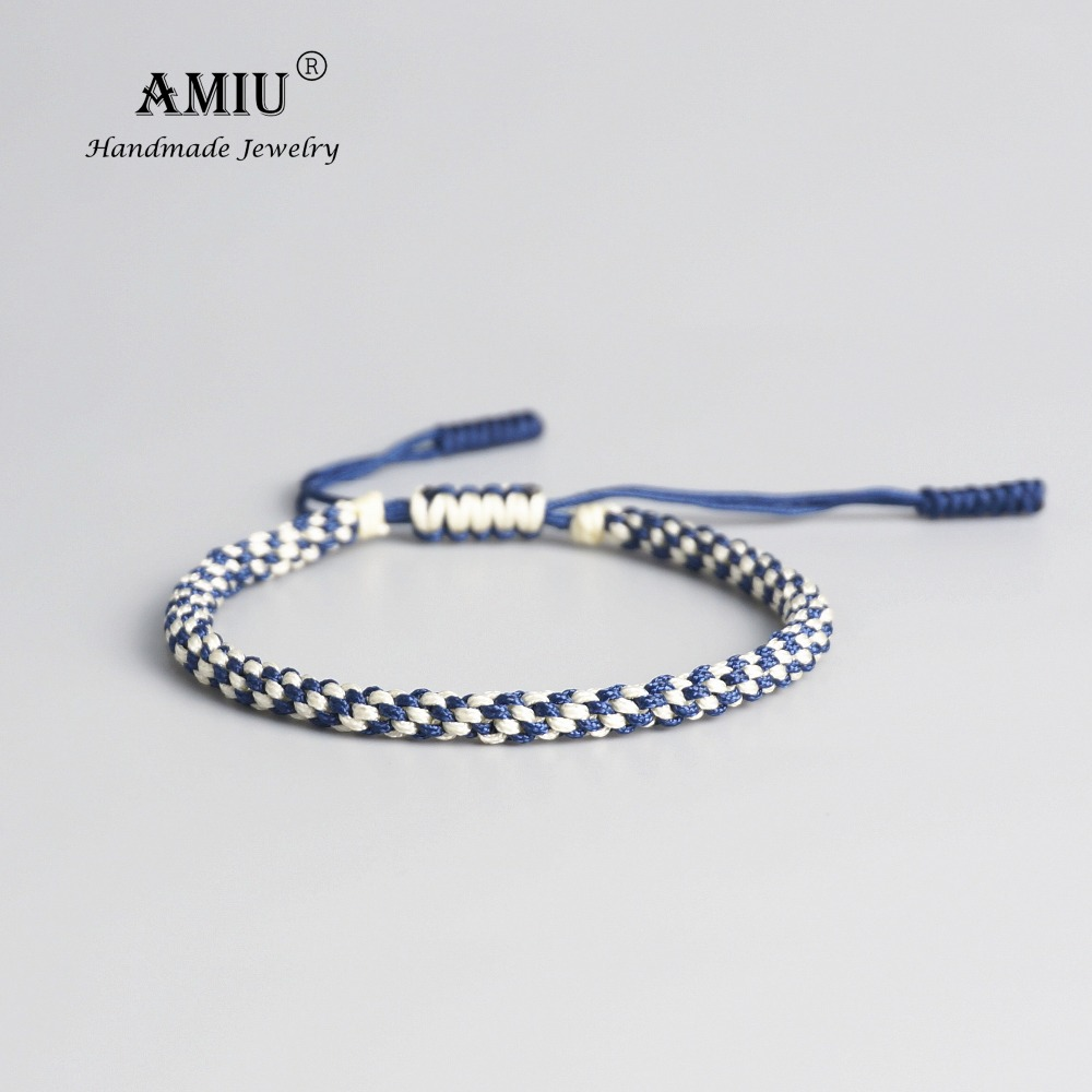 AMIU Tibetan Buddhist Lucky Amulet Tibetan Bracelets & Bangles For Women And Men Handmade Knots Rope Lucky Gift Bracelet