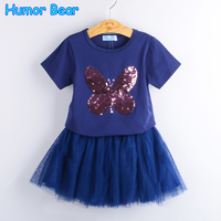 Humor Bear Girls Clothing Sets 2017 Summer Fashion Style Cartoon Butterfly T Shirts Dress 2Pcs Girls