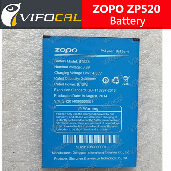 zopo zp520 battery 100% New BT52S 2400mAh for zopo C5 zp520+ Mobile Android Phone + Tracking Number
