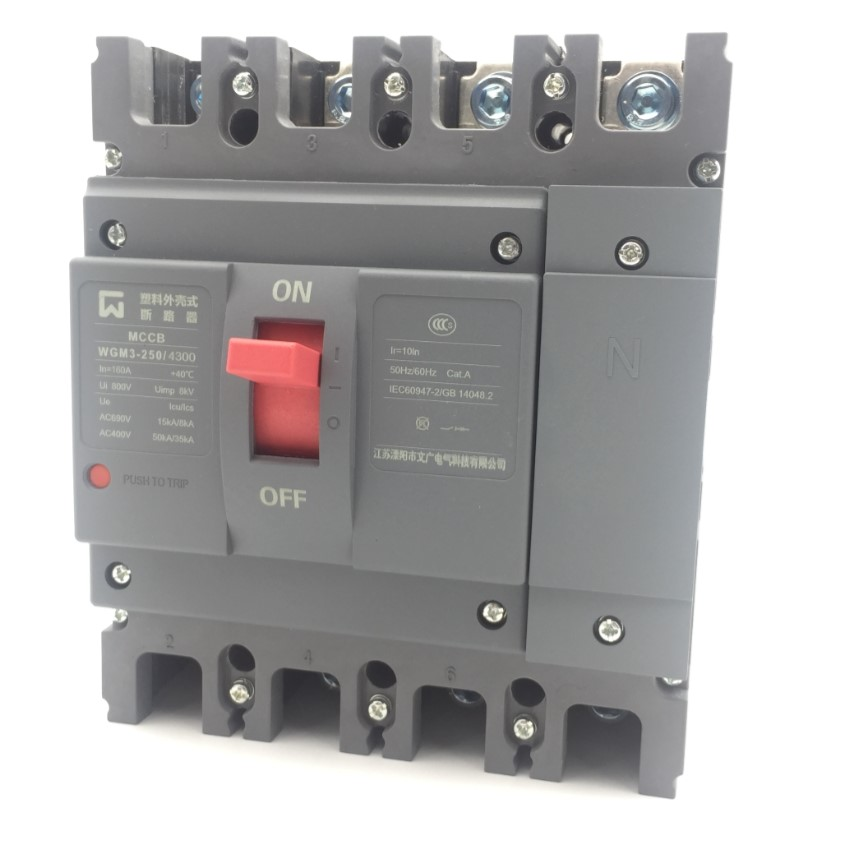 цена Compact mould case circuit breaker high breaking capacity 250A WGM3-250/4300 4poles