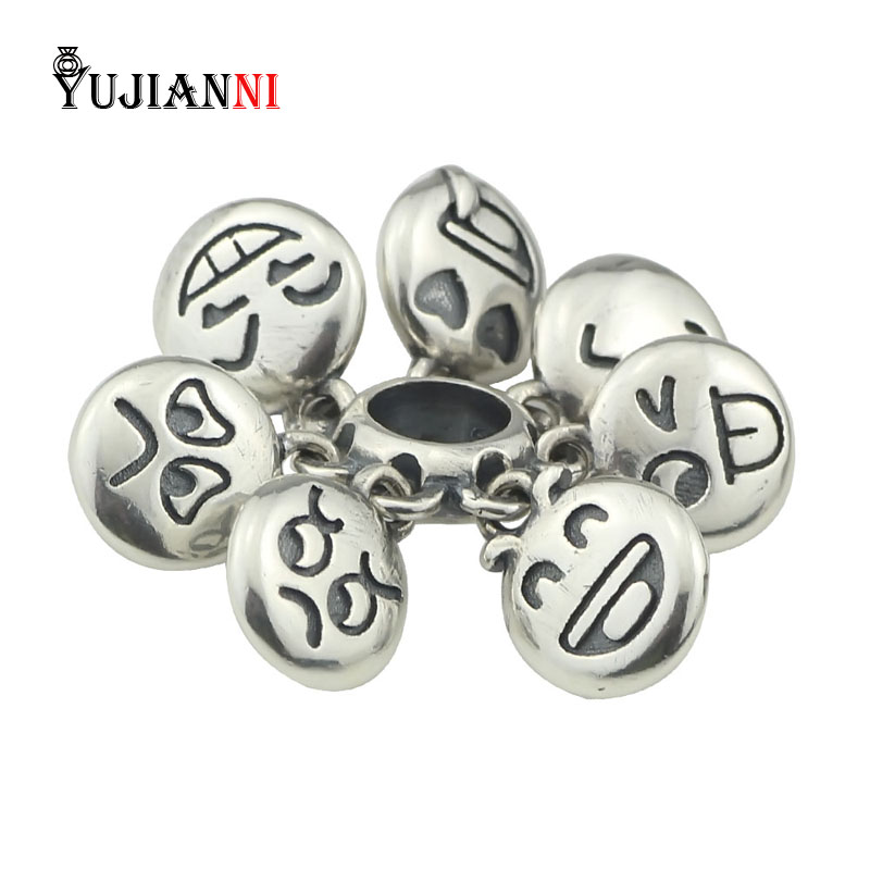 925 Sterling Silver Laugh Cry Happy Faces Beads DIY Jewelry Making Charm Fits European Original Troll