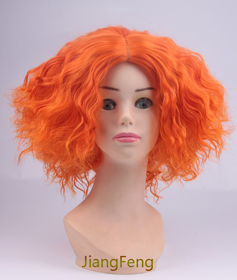 Movie Alice In Wonderland 2 Mad Hatter Cosplay Wigs Tarrant Hightopp Orange Short  Heat Resistant Synthetic Hair Wig + Wig Cap