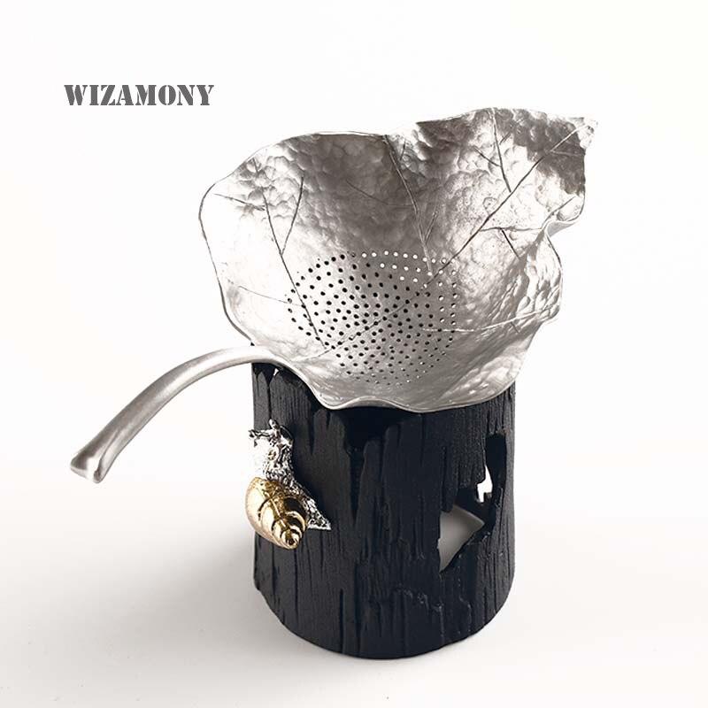 WIZAMONY Китайска ръчно изработена чаена филтър чист калайдисан листна цедка Листа Kungfu Аксесоари за чай чай комплект от две части