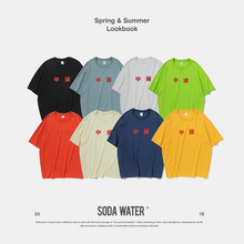 SODA WATER Chinese Zhongwen T-shirt Multi-colour Oversized Tee Streetwear Brand Clothing Loose Fit Candy Tee Unisex 91118S