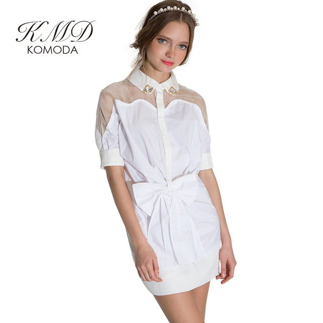 d07b035bb3c449 KMD KOMODA White Shirt Dresses Women High Waist Sheer Mini Dress Female Cute  Elegant Casual Dress Ladies Vestidos