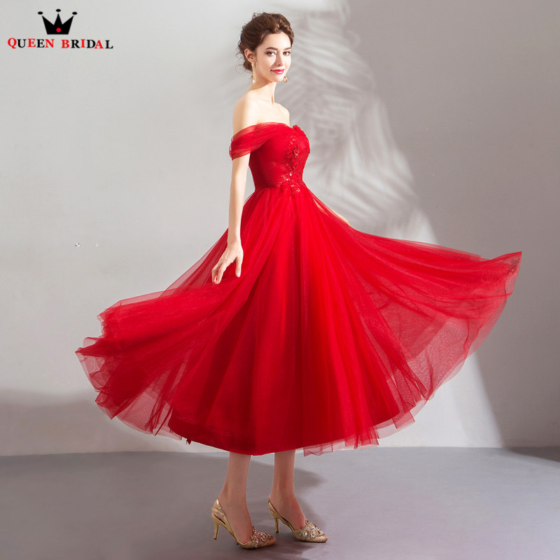 A line Tea Length Sweetheart Tulle Lace Beading Sexy Red Short Evening Dresses 2018 New Arrival