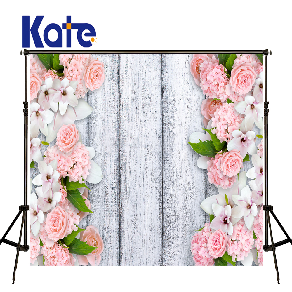 KATE Photography Background Pink Flower Backdrop White Wooden Photo Backdrops Wedding Background Newborn Photo Prop for Studio люстра crystal lux fontain sp8