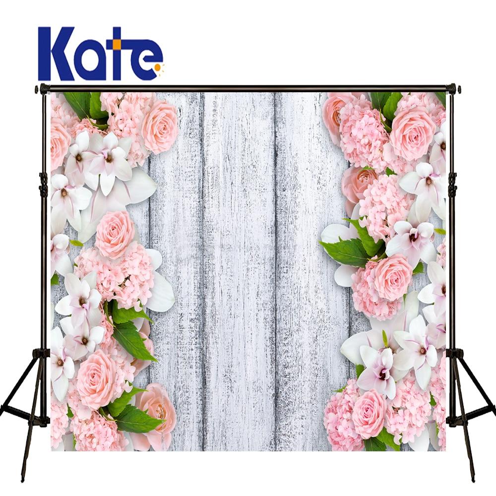 KATE photographie fond rose fleur toile de fond blanc en bois Photo fonds de mariage nouveau-né Photo Prop pour Studio