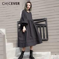 CHICEVER 2018 Spring Puff Sleeve Black Women Dress Female Black Loose Big Size O Neck Dresses