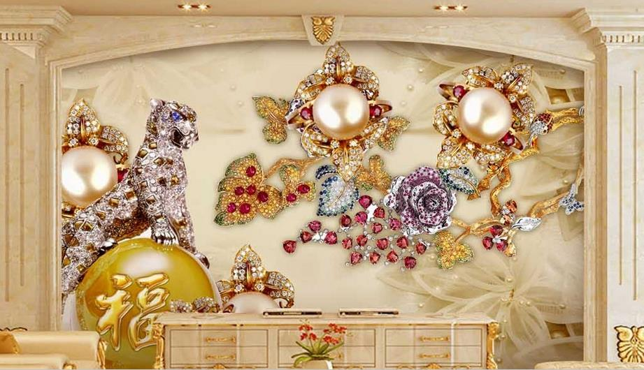 custom 3D wallpaper Luxury Graceful jewelry 3d stereoscopic wallpaper living room wallpaper